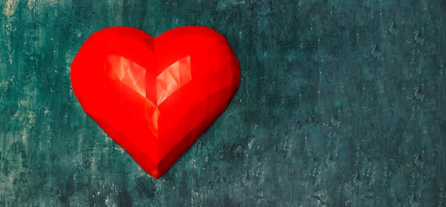 Panton의 색상으로 벽에 종이 접기 기술의 큰 체적 붉은 심장