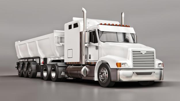 Большой белый американский грузовик с самосвалом типа прицеп для перевозки сыпучих грузов на сером