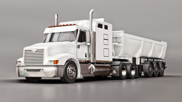 Large white american truck with a trailer type dump truck for transporting bulk cargo on a gray background. 3d illustration.