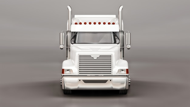 Large white american truck with a trailer type dump truck for transporting bulk cargo on a gray