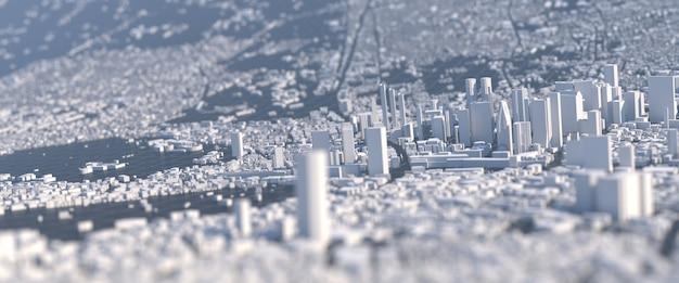 歪んだビジョンを持つ大規模な白い都市
