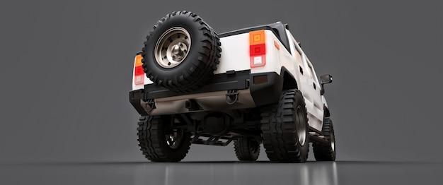 시골이나 회색 외진 배경의 탐험을 위한 대형 흰색 오프로드 픽업 트럭. 3d 그림입니다. 프리미엄 사진