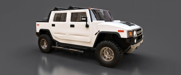 시골이나 회색 외진 배경의 탐험을 위한 대형 흰색 오프로드 픽업 트럭. 3d 그림입니다.
