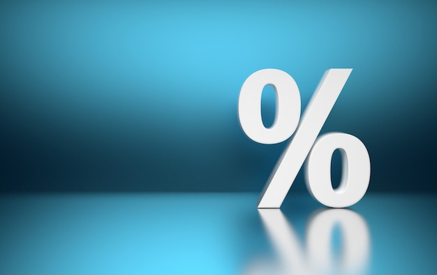 Large white percent percentage sign symbol standing on blue blurred shiny reflective surface.
