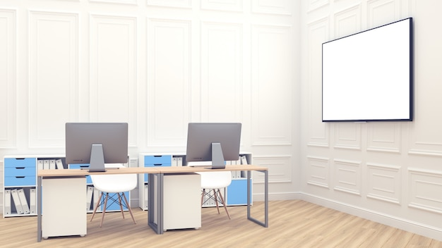 Large white screen for presentations. 3d render with office interior. modern loft office comfortable workplace