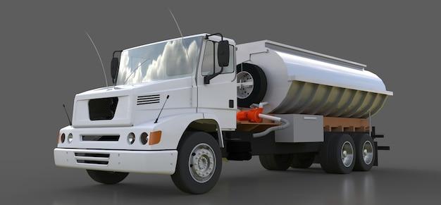 광택이 나는 금속 트레일러가 달린 대형 흰색 트럭 유조선. 모든 측면에서 볼 수 있습니다. 3d 그림.