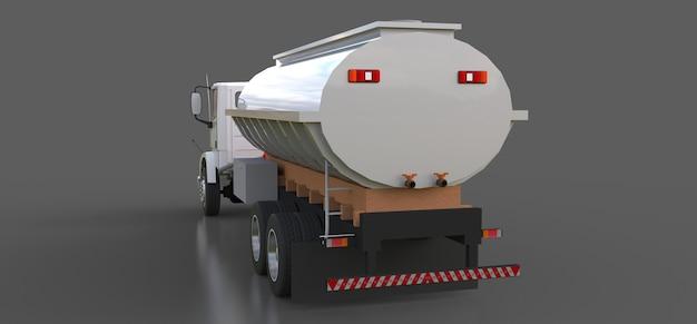세련된 금속 트레일러가 달린 대형 흰색 트럭 유조선