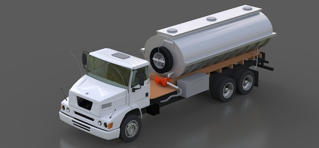 Large white truck tanker with a polished metal trailer. views from all sides. 3d illustration.