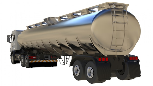 Large white truck tanker with a polished metal trailer. views from all sides