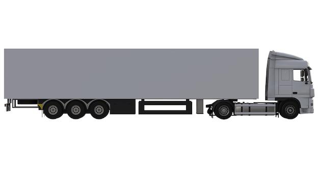 세미 트레일러가있는 대형 흰색 트럭. 그래픽을 배치하기위한 템플릿입니다. 3d 렌더링.
