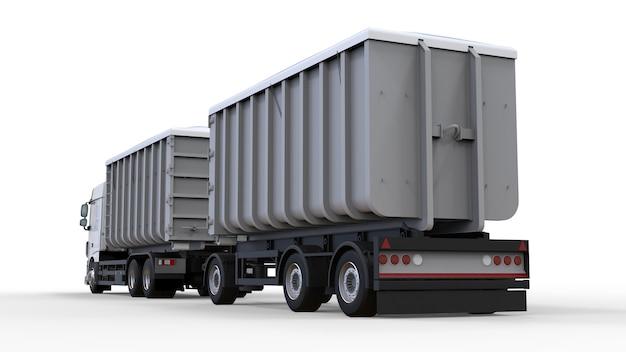 Большой белый грузовик с отдельным прицепом для перевозки сельскохозяйственных и строительных сыпучих материалов и продуктов. 3d-рендеринг.
