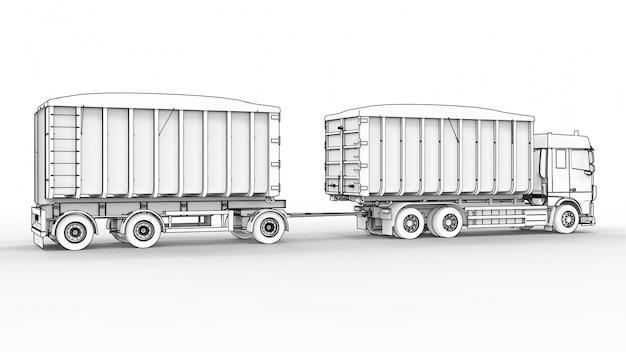 Большой белый грузовик с отдельным прицепом, для перевозки сельскохозяйственных и строительных сыпучих материалов и продуктов
