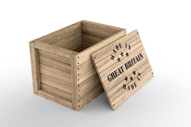 흰색 바탕에 made in great britain 텍스트가 있는 큰 나무 상자. 3d 렌더링