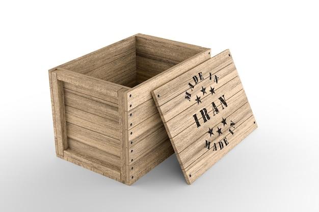 흰색 바탕에 made in iran 텍스트가 있는 큰 나무 상자. 3d 렌더링