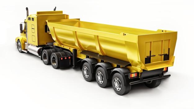 흰색 바탕에 벌크 화물을 운반하기 위한 트레일러 유형 덤프 트럭이 있는 대형 노란색 미국 트럭. 3d 그림입니다.