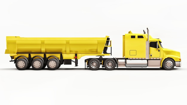 Large yellow american truck with a trailer type dump truck for transporting bulk cargo on a white background. 3d illustration.