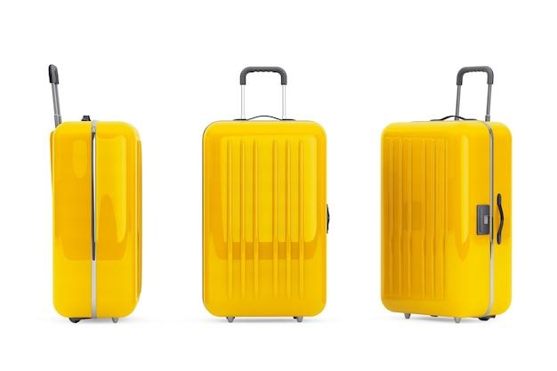Большие желтые чемоданы из поликарбоната на белом фоне