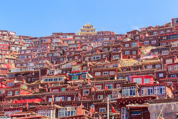 赤い修道院と日当たりの良い日と背景のlarung gar(仏教学院)の家は青い空、中国