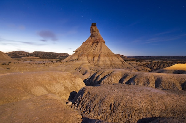 Las bardenas reales desertic landscape at dusk