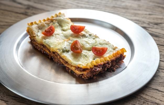 Lasagna on metal plate