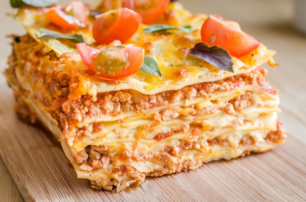 Lasagna with cherry tomatoes