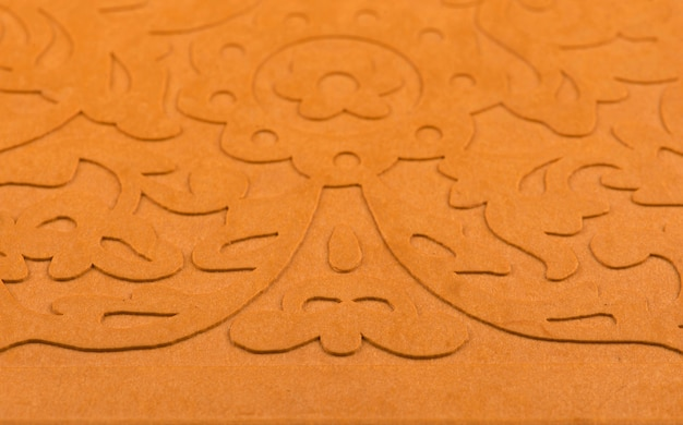 Laser cutting panel. golden floral pattern. gift or favor box silhouette ornament.