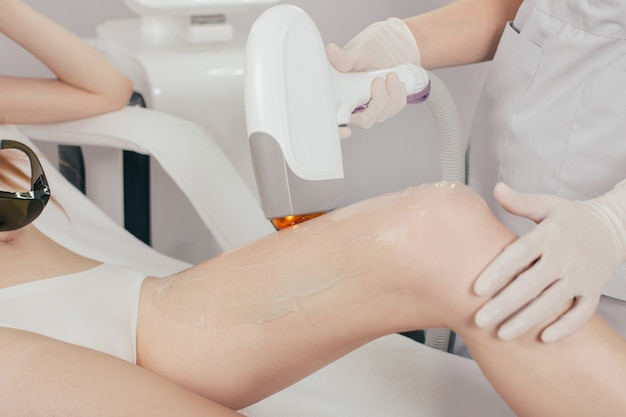 Laser epilation treatment in cosmetic beauty clinic
