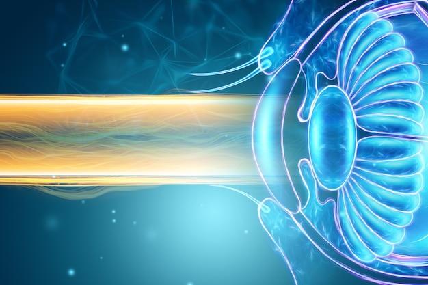 レーザー眼科手術、人間の目のホログラムとレーザービーム。眼科手術、catheract、ostegmatism、現代の眼科医の概念。 3dイラスト、3dレンダリング