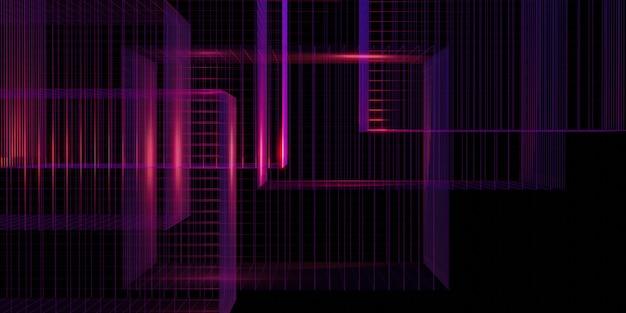 レーザーグリッド紫グロー赤と青の3dイラスト