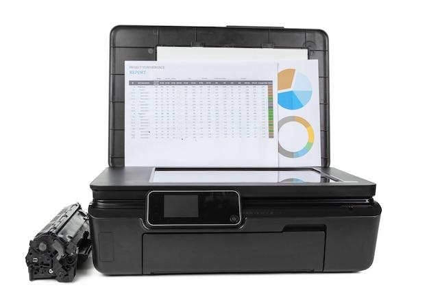 흰색 배경에 고립 된 레이저 홈 프린터