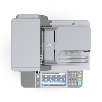 흰색 바탕에 레이저 프린터입니다. 3d 그림.
