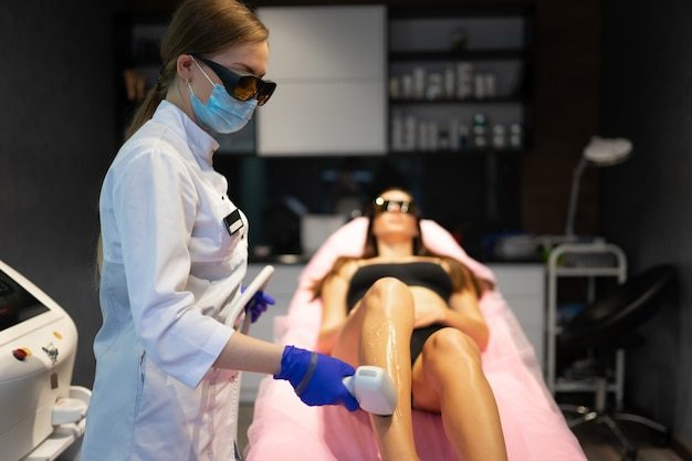 Laser removing hair on the legs