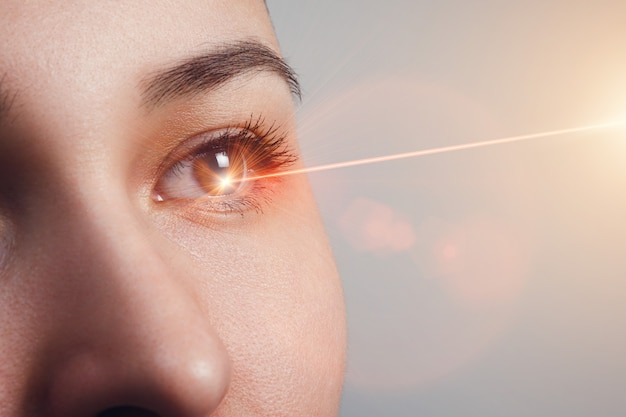 Лазерная коррекция зрения. женский глаз. человеческий глаз женский глаз с лазерной коррекцией.