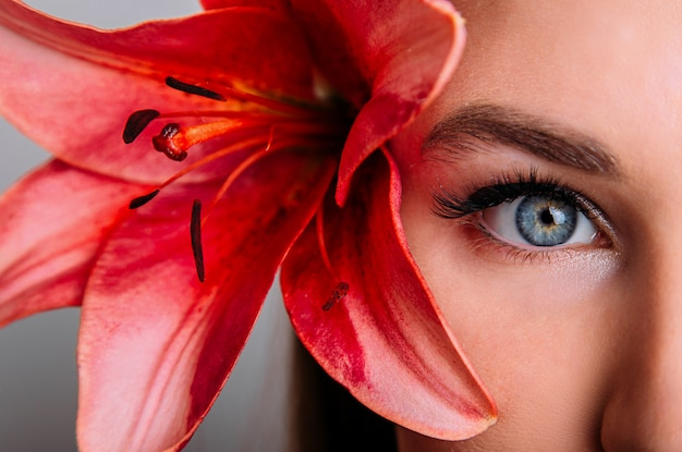 Lashes extension, eyelash, beautiful woman eyes closeup