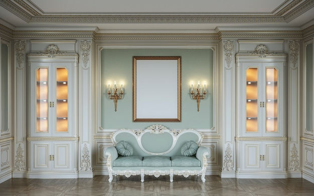 Ð¡lassic interior in olive colors with wooden wall panels, showcases, sconces, frame and sofa . 3d rendering.