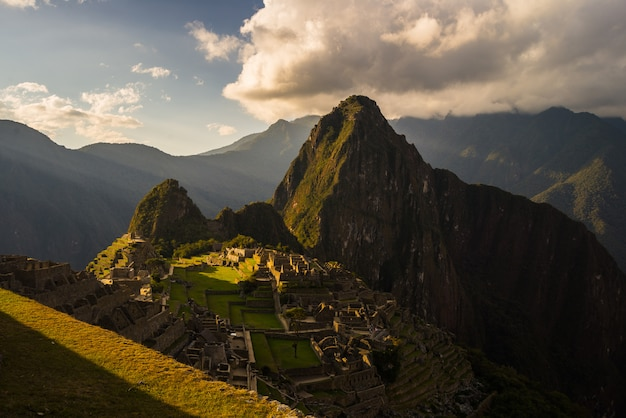 Last sunlight at machu picchu, peru