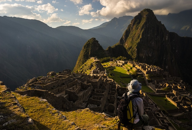 Last sunlight on machu picchu, peru