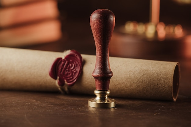 Last will and old wax seal in notary office