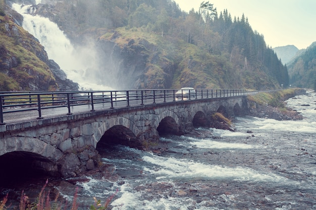 Latefossen waterfall in norway and bridge