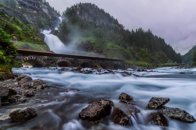 Latefossen waterfall in odda in summer, norway