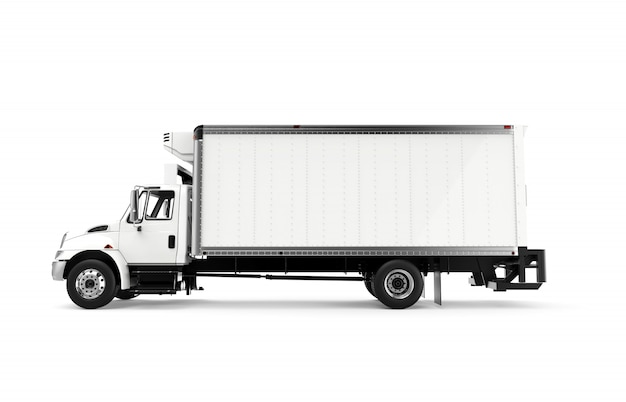 Lateral white truck isolated on a white background