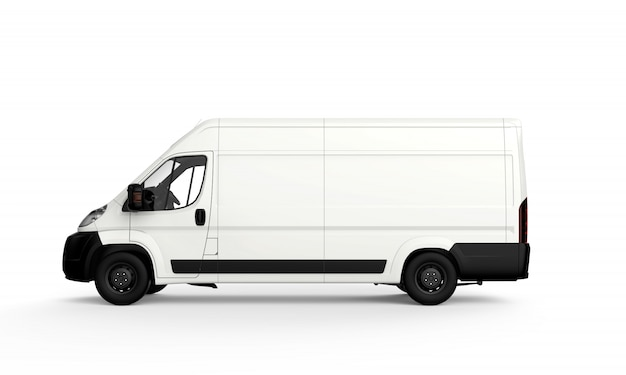 Lateral white truck
