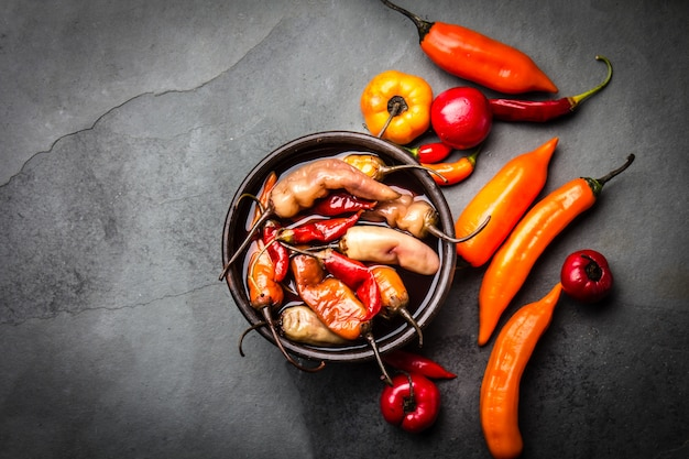 Latin american escabeche - fermented chili pepper. spicy marinated chili