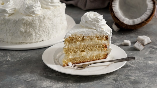 Latin american food, coconut cake, torta or pastel de coco, columbian typical cake
