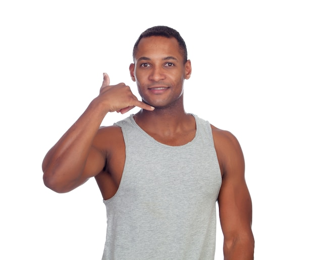 Latin casual men making phone call gesture