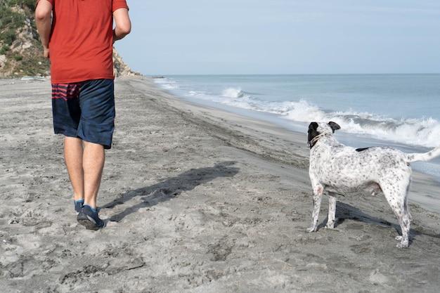 아침에 해변에서 개와 즐거운 시간을 보내는 라틴 남자