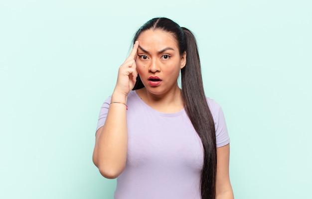 Латинская женщина выглядит удивленной, с открытым ртом, шокированной, осознающей новую мысль, идею или концепцию