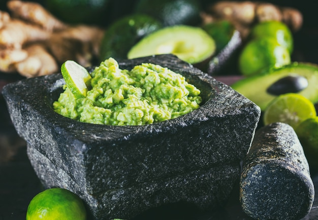 Latinamerican mexican guacamole with avocado ginger