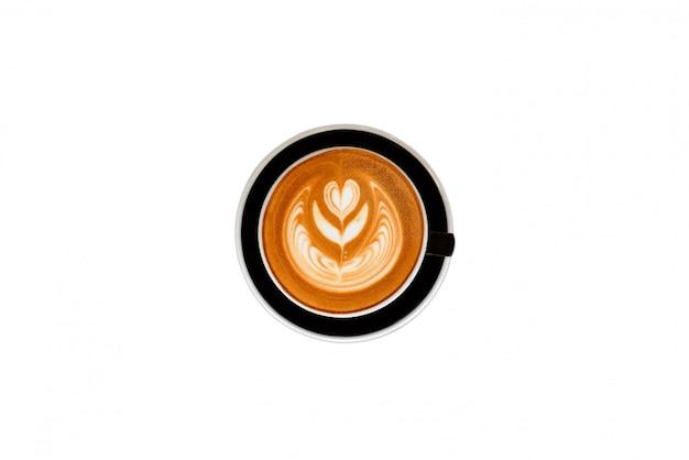 Latte art, coffee on white