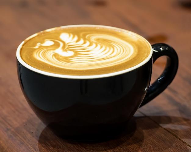 Latte art in cup.